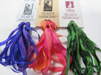 100% Silk Ribbon by The Thread Gatherer in Hand Dyed Variegated and Solid Colors