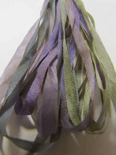The Thread Gatherer Hand-dyed Silk Ribbon, 4mm — Wild Violets 112 MAIN