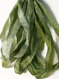 Thread Gatherer Hand-dyed Silk Ribbon, 4mm — Willow Green 047 THUMBNAIL
