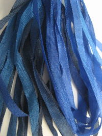 Thread Gatherer Hand-dyed Silk Ribbon, 4mm — Blue Seas 050 THUMBNAIL