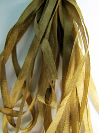 Thread Gatherer Hand-dyed Silk Ribbon, 4mm — Bronze Age Green 154 THUMBNAIL