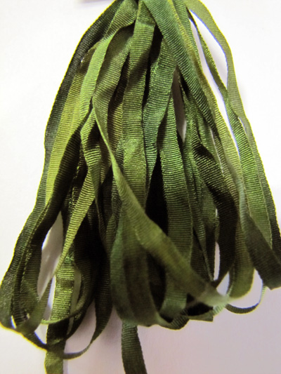 The Thread Gatherer Hand-dyed Silk Ribbon, 4mm — Camouflage 055 MAIN