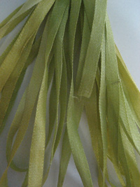 The Thread Gatherer Hand-dyed Silk Ribbon, 4mm — Chartreuse 045 THUMBNAIL