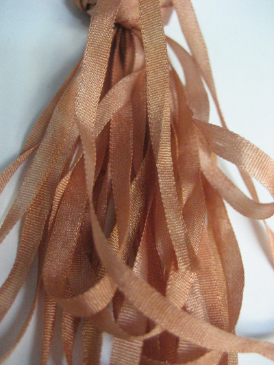 The Thread Gatherer Hand-dyed Silk Ribbon, 4mm — Copper Rose 130 MAIN