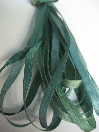 Thread Gatherer Hand-dyed Silk Ribbon, 4mm — Evergreens 009 MAIN