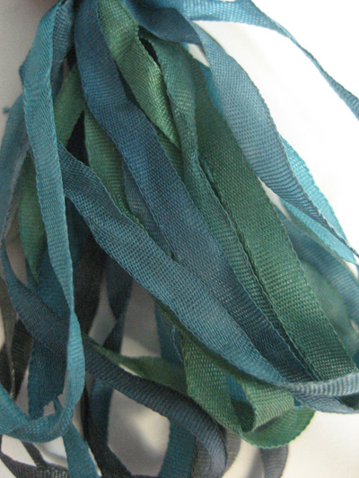 The Thread Gatherer Hand-dyed Silk Ribbon, 4mm — Forest Of Greens 025 MAIN