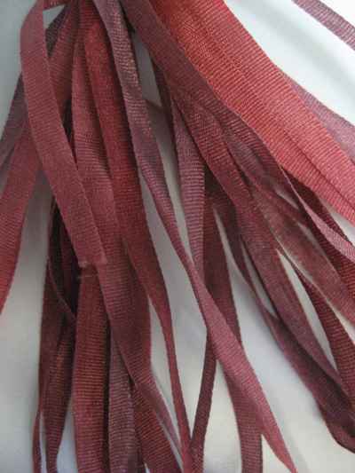 The Thread Gatherer Hand-dyed Silk Ribbon, 4mm — Frosted Auburn 023 MAIN