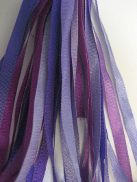 The Thread Gatherer Hand-dyed Silk Ribbon, 4mm — Grape Melange 029 THUMBNAIL