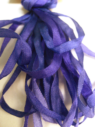 The Thread Gatherer Hand-dyed Silk Ribbon, 4mm — Grape Soda 102 MAIN