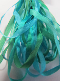 The Thread Gatherer Hand-dyed Silk Ribbon, 4mm — Mermaid Shimmer 056 THUMBNAIL
