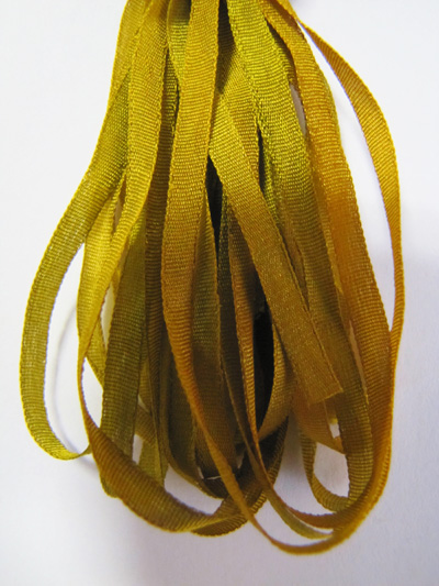 The Thread Gatherer Hand-dyed Silk Ribbon, 4mm — Pond Scum 110 MAIN