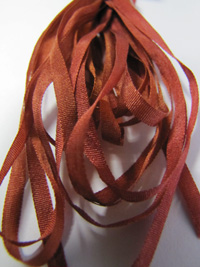 Thread Gatherer Hand-dyed Silk Ribbon, 4mm — Rusty Amber 038 THUMBNAIL