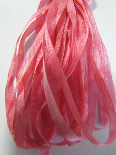 The Thread Gatherer Hand-dyed Silk Ribbon, 4mm — Sophie's Strawberry 108 MAIN