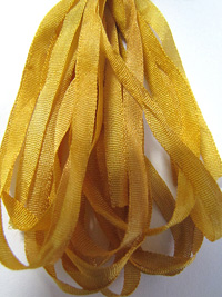 The Thread Gatherer Hand-dyed Silk Ribbon, 4mm — Straw Into Gold 175 THUMBNAIL
