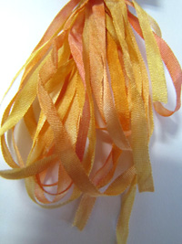 Thread Gatherer Hand-dyed Silk Ribbon, 4mm — Yellow Blush 080 THUMBNAIL