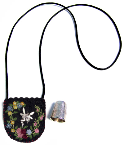 Embroidered and Embellished Felt Thimble Pouch Necklace #2 MAIN