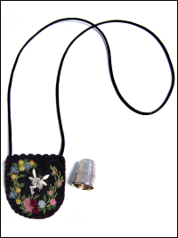 Embroidered and Embellished Felt Thimble Pouch Necklace #2 THUMBNAIL