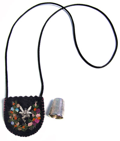 Embroidered and Embellished Felt Thimble Pouch Necklace #3 MAIN