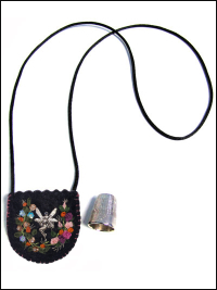 Embroidered and Embellished Felt Thimble Pouch Necklace #3 THUMBNAIL