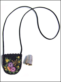 Embroidered and Embellished Felt Thimble Pouch Necklace #4 THUMBNAIL