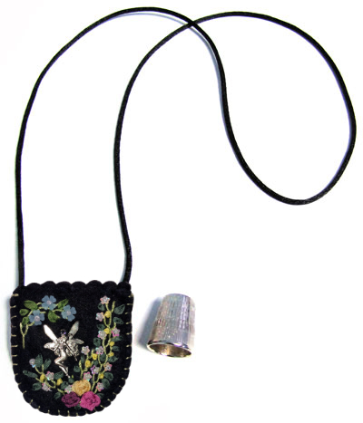 Embroidered and Embellished Felt Thimble Pouch Necklace #5 MAIN