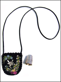 Embroidered and Embellished Felt Thimble Pouch Necklace #5 THUMBNAIL