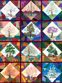 "QT Fabrics ""His Majesty - The Tree"" # 27559-X Multi - Twelve Block Panel (43"" x 54"") THUMBNAIL"