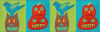 Halloween Print with Pumpkins, Cats and Birds on Turquoise and Green Woven Trim - # SP-25 col. 2 MAIN