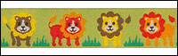 Lions on Green Woven Trim - # ST-05 col. 1 THUMBNAIL