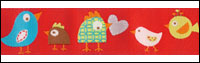 Multi Colored Birds on Red Woven Trim - # DN-01 col. 2 Red Happi Birds THUMBNAIL