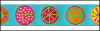 Multi Colored Circles on Turquoise Woven Trim - # SP-45 col. 3 THUMBNAIL