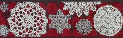 Renaissance Ribbons #LFNT-116 col. Lacy 2 red – Red with Snowflakes MAIN