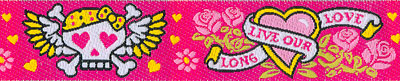 """Long Live Our Love"" Skulls and Hearts on Pink Woven Trim - # N-55 col. 2 Pink Tattoo MAIN"