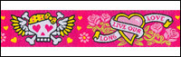 """Long Live Our Love"" Skulls and Hearts on Pink Woven Trim - # N-55 col. 2 Pink Tattoo THUMBNAIL"
