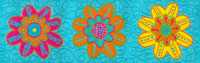 Large Brightly Colored Flowers on Turquoise Woven Trim - # SP-44 col. 2 THUMBNAIL