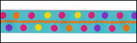 Multi Colored Polka Dots on Turquoise Woven Trim - # SP-03 col. 4 THUMBNAIL