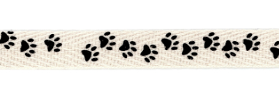 Twill Tape Trim by May Arts - # XT-5 – Black Paw Prints MAIN