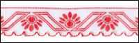 Red and White Scallop Edge Trim - # HC-217 col. 65 THUMBNAIL