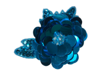 Vintage Appliqué – Turquoise Sequined and Beaded Flower THUMBNAIL