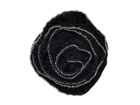 Vintage Appliqué – Black Rose with Silver Lined Edges THUMBNAIL
