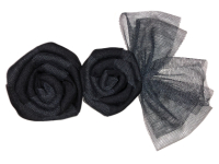 Vintage Appliqué – Black Roses with Black Net Bow THUMBNAIL