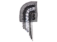 Vintage Appliqué – Black and Silver Chains on Black Netting THUMBNAIL