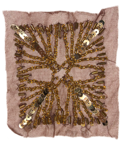 Vintage Appliqué – Gold Embellishments on Brown Square MAIN