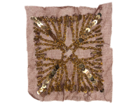 Vintage Appliqué – Gold Embellishments on Brown Square THUMBNAIL