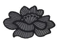 Vintage Appliqué – Gray Flower with Black Outline THUMBNAIL