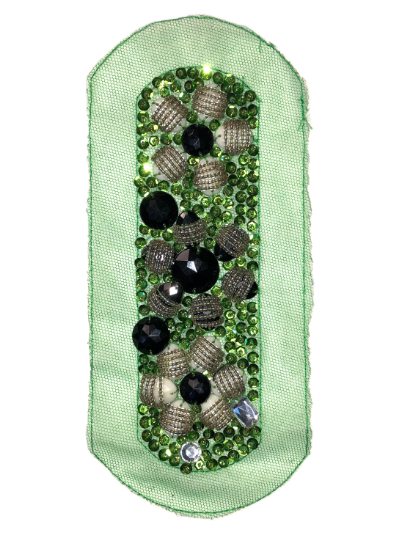 Vintage Appliqué – Green, Black, Silver and White Embellishments on Green MAIN
