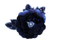 Vintage Appliqué – Navy Blue Sequined and Beaded Flower THUMBNAIL