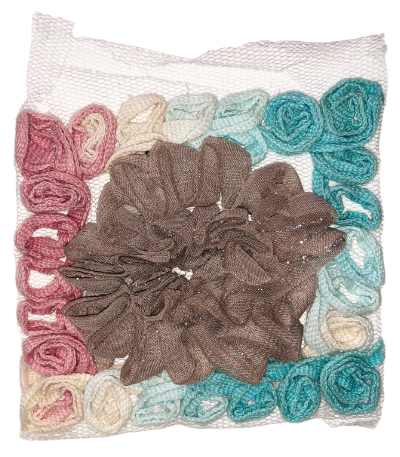 Vintage Appliqué – Turquoise, Pink, Cream and Taupe MAIN