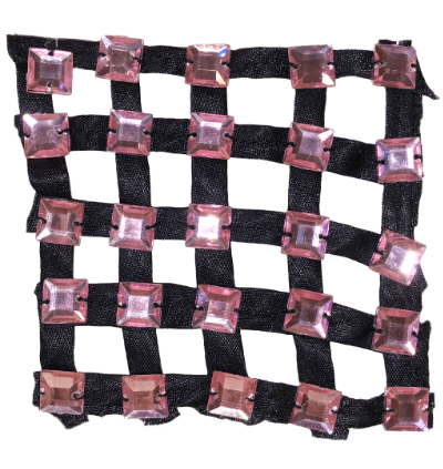 Vintage Appliqué – Black Ribbons with Pink Square Rhinestones MAIN