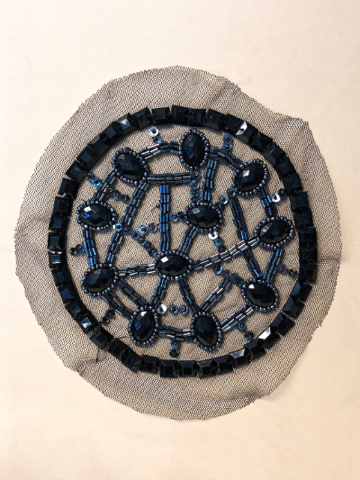 Vintage Appliqué – Black and Pewter Beads on Round Netting MAIN